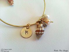 1 Inital Charm Chic Beach Chick Bangle, Fresh Water Pearls Bangle Bracelet, beach bracelet, Ocean theme, Gold banglel bracelet, Shells