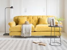 Truffle sofa in our Bumblebee clever velvet TRUFFLE SOFA Relaxed pleats? Mother-in-law hates it? A classic Loaf sofa then. Living Room Designs, Living Room Decor, Dining Room, Loaf Sofa, Snug Room, Yellow Sofa, Couch Table, Trendy Home, Home Office Design