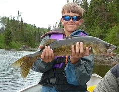 Big smile for first trophy walleye. Caught at Big Hook Camps in Northwest Ontario.