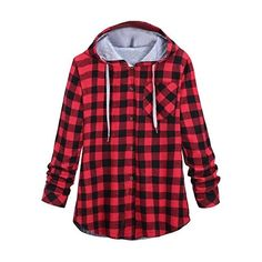 EKU Women Contrast Plaid Oversized Long Hoodies Sweatshirts ($14) ❤ liked on Polyvore featuring tops, hoodies, sweatshirts, long hoodies, red top, red plaid hoodie, plaid hoodie and long sweatshirt