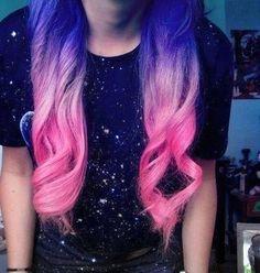 purple blue pink ombre hair dye