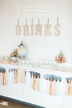 Peach, Mint and Gold Tassel Garland- Peach Party Decor, Peach Photo Backdrop…