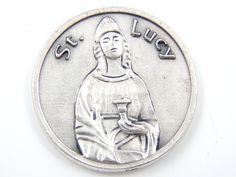 LARGE Saint Lucy Catholic Medal - Santa Lucia Religious Charm - Patron Saint of Eyes - Writers Saints - Pocket Medallion by LuxMeaChristus on Etsy