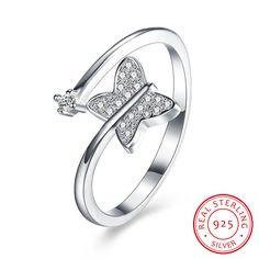 925 Sterling Silver Butterfly Open Ring