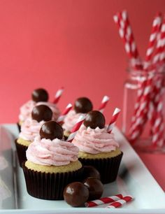 Strawberry Malt Cupcakes @FoodBlogs