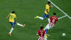 Brazil 3 Croatia 1 in June 2016 in Rio de Janeiro. A Neymar equaliser on 31 minutes in Group A #WorldCupFinals