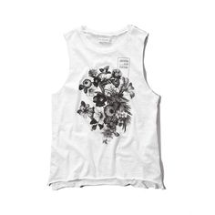 Abercrombie & Fitch Nothing Else Matters Graphic Muscle Tank ($10) ❤ liked on Polyvore featuring tops, shirts, white, graphic tank tops, graphic shirts, white tank, white singlet and cutoff shirt
