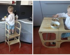 Learning tower / step stool for toddler which can be easily transformed to table and chair.  After helping mom in the kitchen to peel potatoes and prepare dinner, little helper can be tired. The learning tower can be easily transformed to table and chair, so little helper can take a rest, or have some fun with the toys, or maybe enjoy just prepared dinner at his own table!  Please, see the video on how surdy the stools are. Everybody deserves their own learning tower - https://...