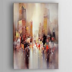Oil Painting Modern Abstract Landscape Hand Painted Canvas with Stretched Framed 2016 - City Painting, Online Painting, Oil Painting Abstract, Abstract Canvas, House Painting, Canvas Art, Painting People, Acrylic Paintings, Hand Painted Canvas