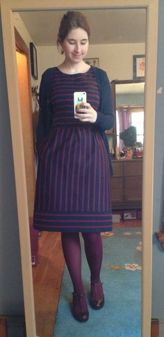 Target dress, old cardigan and t strap shoes. Fall style