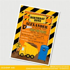 Construction Birthday Party Invitations by PinkPickleParties, $10.00