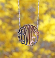 Sterling Silver Big Slim Monogram Necklace by Purple Mermaid Designs #monogramjewelry #bemonogrammed #purplemermaiddesigns