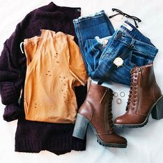 I need more browns and earth tones in my life. Outfits Otoño, Casual Outfits, Fashion Outfits, Différents Styles, Types Of Fashion Styles, Fall Winter Outfits, Autumn Winter Fashion, Fall Fashion, Cheap Boutique Clothing