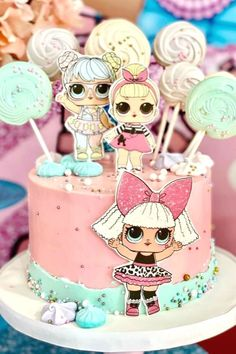 Feast your eyes on this gorgeous LOL Surprise Dolls birthday party! Love the birthday cake!  See more party ideas and share yours at CatchMyParty.com #catchmyparty #partyideas #lolsurprisedolls #lolsurprisedollsparty #girlbirthdayparty #cake