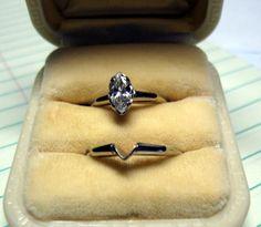 Vintage Diamond Ring Estate Marquise Wedding by neyneystreasures, $1650.00