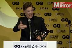 Benedict Cumberbatch accepts his GQ award DRUNK and rambles through his speech - but we love him