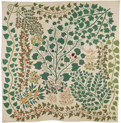 'Branches and Vines' quilt (circa Cotton, silk and wool. Made by Ernestine Eberhardt Zaumseil (American, in Pekin, Illinois. Image and text courtesy The Met Quilts Vintage, Antique Quilts, Framed Wall Art, Canvas Wall Art, Framed Prints, Carlos Merida, American Wings, Mourning Dove, American Quilt
