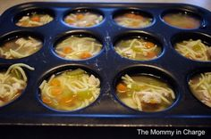 Yum...  cook up a batch of soup and freeze it in muffin tins...  when you want to serve, it's quick and easy to thaw and  re-heat just what you  need!