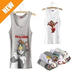 2014 Free shipping 2013 new fashion 100% cotton women tank tops cute cat&mouse MICKY women vest p872 of
