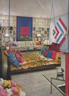 Compared to all the other things going on here, this hanging bed, from House and Garden's Complete Guide to Interior Decoration (1970), seems downright tame. But it's still a swinging daybed hanging from the ceiling, so that's pretty groovy.