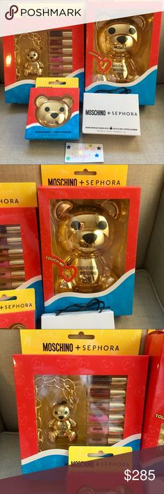 💕Moschino Sephora Collection Set Authentic **Very sought after special edition collaboration set . This is so cute ! This listing is for a 4 pieces of the Moschino Sephora collection. Included is one super pigmented 20 color eyeshadow pallete bear, one bear highlighter duo, one shopping bag shaped 6 color eyeshadow pallete and one bear lipgloss chain with 6 different beautiful shade lip glosses. Purchased online from Sephora . I accept all reasonable offers.  This WILL sell out ! Moschino…