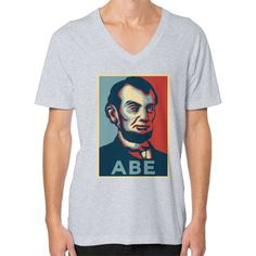 """ABE LINCOLN ""HOPE"" DESIGN"" V-NECK (Color : Heather grey) - By Gordons Wear"