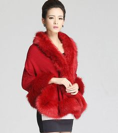 Purplish Red Women Fashion Knitting Faux Fur Cape Cardigan Coat