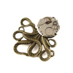 Clockpunk Octopus  Steampunk Octopus Pin  Monster by SteamSect