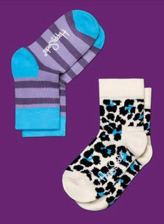 Happy Socks Kids Collection Girls Purple Turquoise and Cream Stripes and Leopard Print Two Pair Mix & Match Socks Set