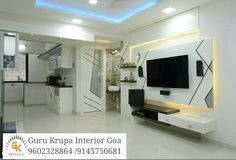 """Avail qualitative Interior designing for Home in Pune from expert Interior desi… Interior Design Furniture, Tv Cabinet Design, Home Interior Design, Modern Tv Wall Units, Hall Interior, Living Room Designs, Interior, Tv Wall Design, Ceiling Design Bedroom"