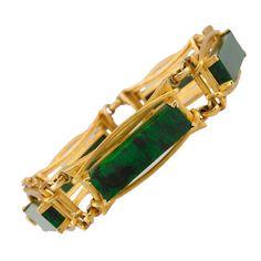 Malachite Gold Bracelet | From a unique collection of vintage link bracelets at https://www.1stdibs.com/jewelry/bracelets/link-bracelets/