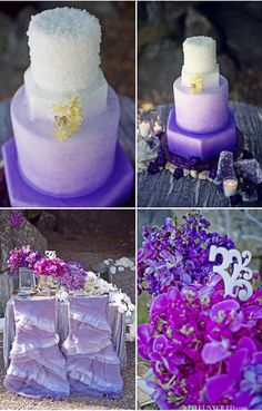 purple wedding cake, purple flowers for wedding -Wildflower Linen - Juliet Lavender Chair Sleeve