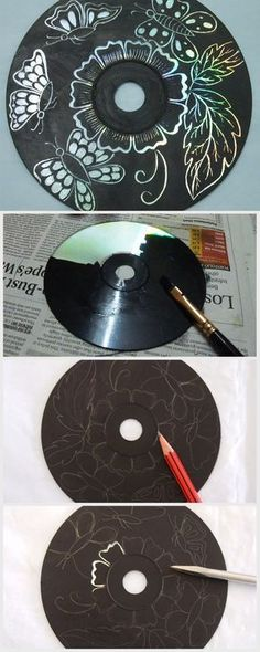Art Use up those old CDs you no longer play by turning them into gorgeous scratch art.Use up those old CDs you no longer play by turning them into gorgeous scratch art. Art Cd, Club D'art, Kratz Kunst, Old Cd Crafts, Crafts With Cds, Upcycled Crafts, Diy Crafts, Art Club Projects, Cd Project