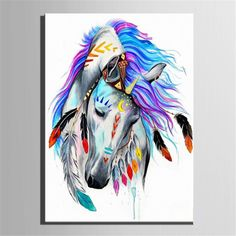 $11.87 AUD - Framed Indian Horse Number Kit Painting By Canvas Diy Craft Home Decor 4050Cm #ebay #Home & Garden