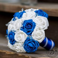 Royal blue wedding bouquet white bridal bouquet blue and