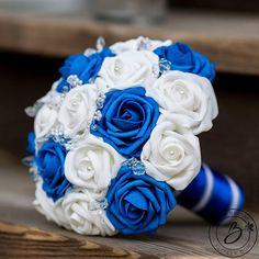 Royal blue wedding bouquet white bridal bouquet blue and