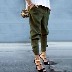 ZANZEA Women 2016 Summer Autumn Women Harem Pants Casual Loose Elastic Waist Long Pants Leisure Trousers Army Green Plus Size We offers a wide selection of trendy style women's clothing. Affordable prices on new tops, dresses, outerwear and more. Fashion Mode, Look Fashion, Autumn Fashion, Fashion Clothes, Womens Fashion, Fashion Trends, Fashion 2015, Fashion Check, Street Fashion