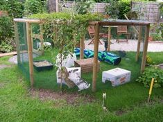 Rabbit needs space to run and play so it is necessary to have a playground for your rabbits. We have curate some ideas of a good rabbit playground here. Bunny Cages, Rabbit Cages, House Rabbit, Rabbit Fence, Rabbit Playground, Playground Design, Rabbit Enclosure, Reptile Enclosure, Bunny Hutch