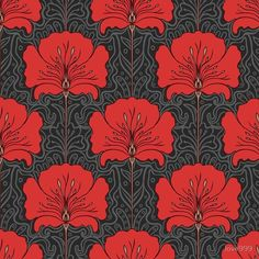 Seamless pattern with red flowers on gray background royalty free seamless pattern with red flowers on gray background stockvectorkunst en meer beelden van art nouveau Motifs Art Nouveau, Design Art Nouveau, Art Nouveau Pattern, Pattern Art, Pattern Flower, Pattern Fabric, Pattern Ideas, Pattern Design, Jazz Age