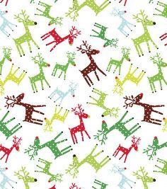 Holiday Inspirations Christmas Fabric-Polka Dot Reindeer