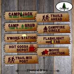 Camping Party - Camping Birthday Party - Complete Collection - Cupcake Toppers, Banner, Favor Tags, Signs & More - Customized Printable. $38.00, via Etsy.