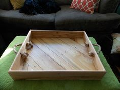 Reclaimed Wood Angular Serving Tray with Rope Handles