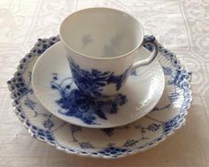 Royal Copenhagen Blue Fluted Half Lace and Blue Flowers Curved, by LilyOake