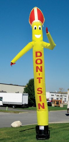 Listen to the long, yellow, wobbling, plastic figure