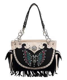 This Black Butterfly Fringe Satchel is perfect! #zulilyfinds