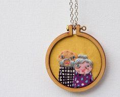 Embroidery and appliqué necklace  unique mini hoop  by dandelyne, $49.00