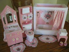 Bathroom for Barbie size dolls. $100.00, via Etsy.