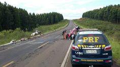 Quatro pessoas morreram na colisão frontal envolvendo dois veículos, na BR-158, em São Gabriel, ...