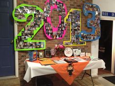 Graduation party decorations. The numbers are created out of pictures.