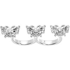 Size 6-7 Silver Tone Crystalline Butterfly Trio Double Finger Ring  #bodycandyloves